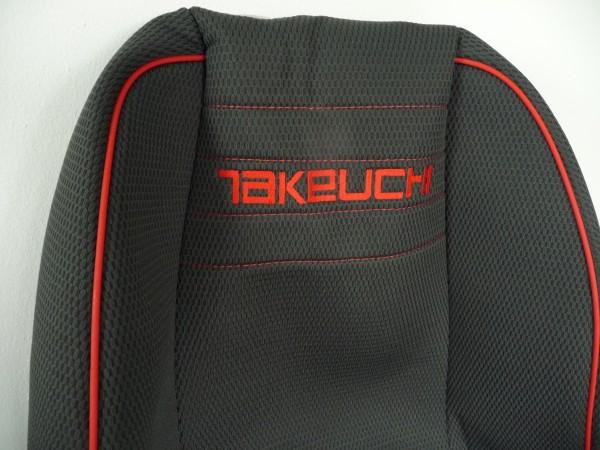 Sitzbezug massgefertigt mit Takeuchi Logo TB 175/TB 1140/ TB070, dreiteilig